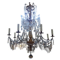 Late 18th Century Genovese Gilt Wood And Crystal Eight-Light Chandelier