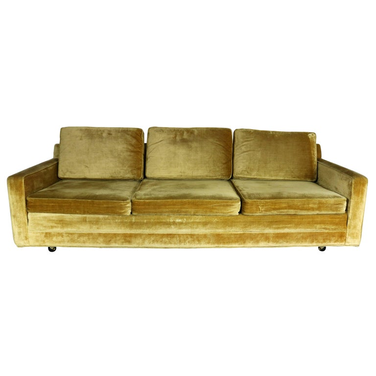 Gold velvet lawson style three cushion sofa vintage mid for Gold velvet sectional sofa