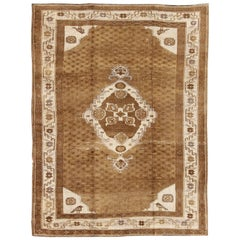 Brown Medallion Vintage Turkish Oushak Rug with Sub-Geometric Patterns