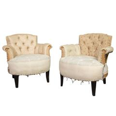 Pair of Small French Art Deco Style Tufted Armchairs