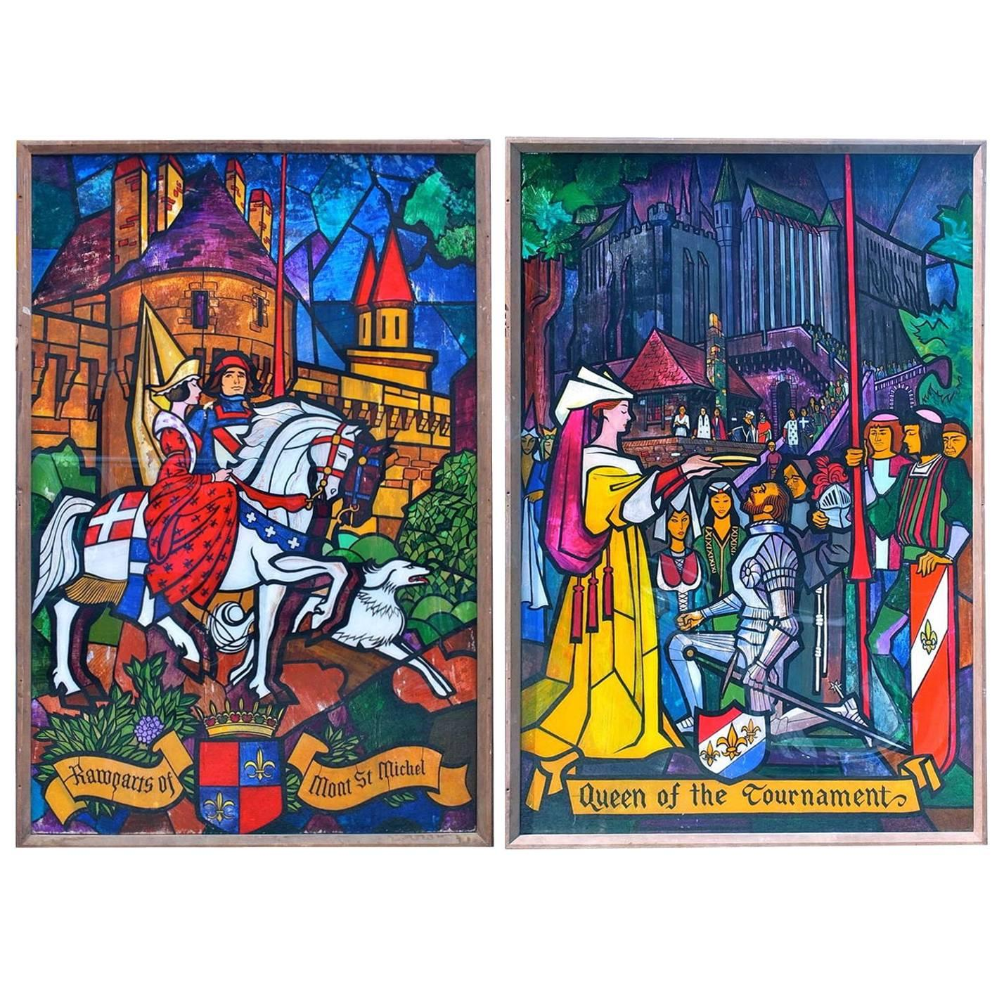 Lumen Martin Winter (1908-1982) Monumental Medieval Painted Acrylic Panels