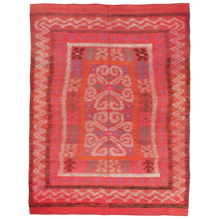 Midcentury Handmade Scandinavian Modern Kilim In Coral Red For Sale