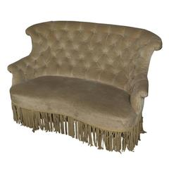 19th Century, French Tufted Settee in Faded Green Velvet