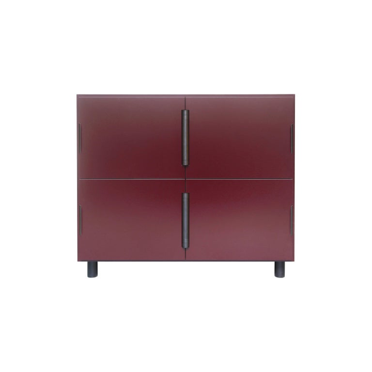 Contemporary Nocturne Cabinet in Oxblood, with Blackened Steel Hardware For Sale