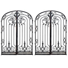 Two Pair of Magnificent Wrought Iron Gates, from Maison De L'Amitie, Palm Beach