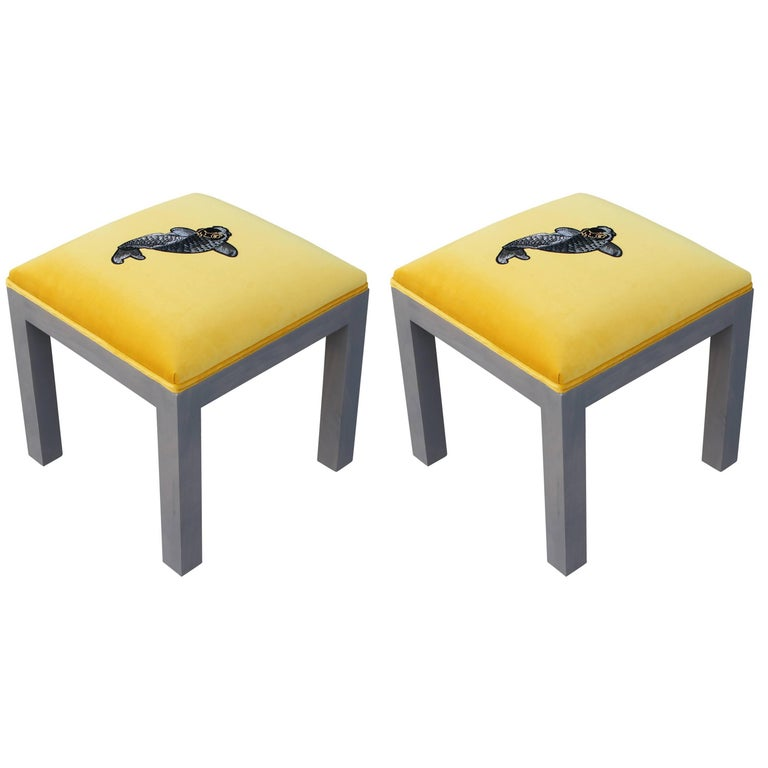 Luxe Modern Yellow Velvet Pair of Ottomans or Stools, Embroidered Koi Fish For Sale