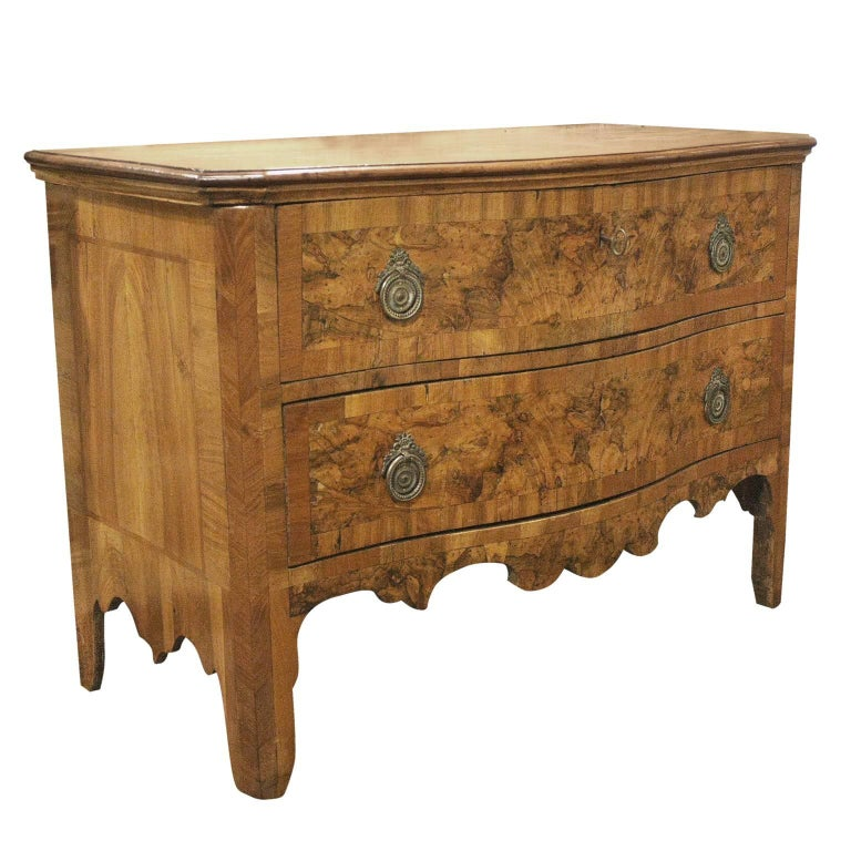 French 19th Century Burled Walnut Two-Drawer Commode with Serpentine Front For Sale