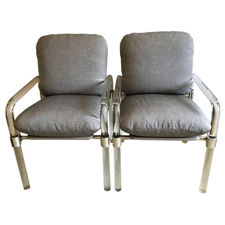 Pair of Lucite and Aluminum Side Chairs By Jeff Messerschmidt for Knoll, 1970's For Sale