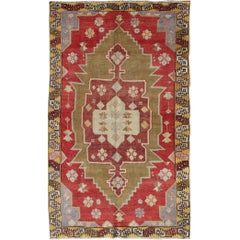 Unique Vintage Turkish Oushak Rug with Geometric Medallion in Red, Green, Yellow
