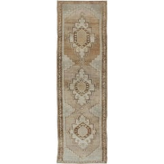Taupe, Ivory, Brown Vintage Turkish Oushak Rug with Three Vertical Medallions