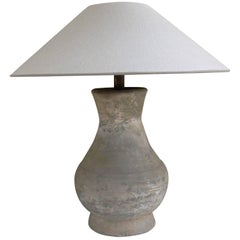 Chinese Han Dynasty Period Unglazed Vase as Table Lamp