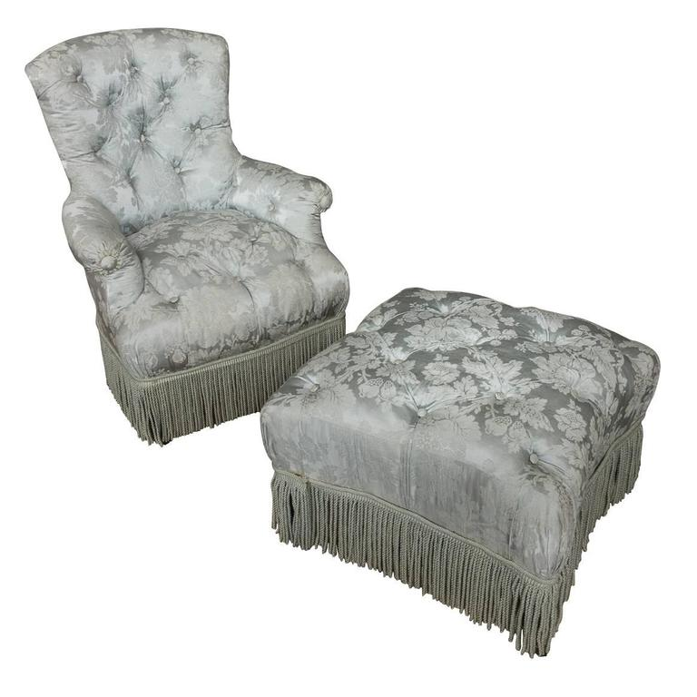 Merveilleux French, 19th Century Tufted Armchair And Ottoman For Sale