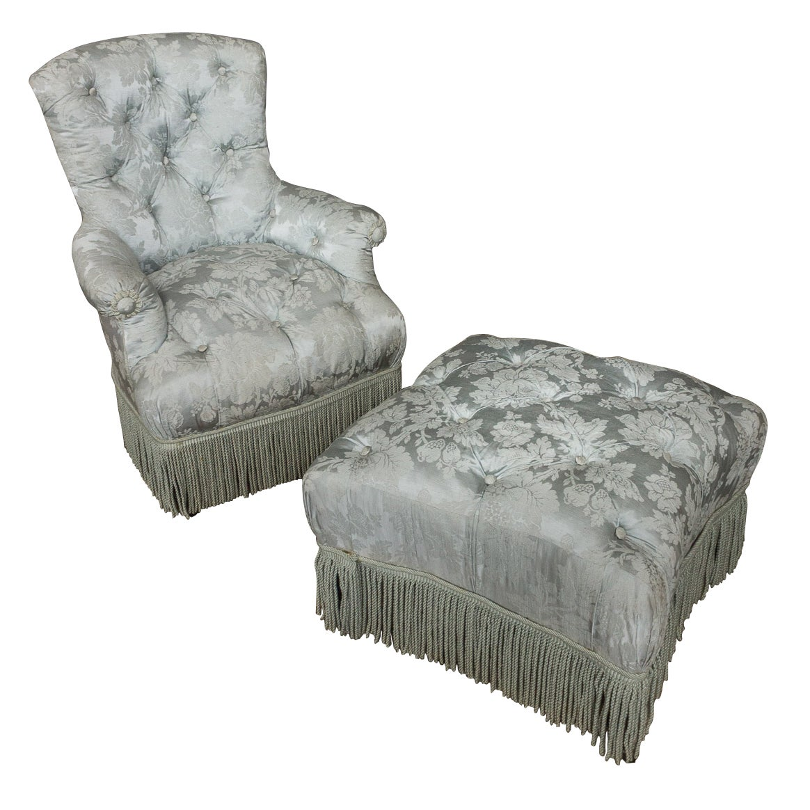 French 19th Century Tufted Armchair and Ottoman