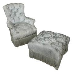 French, 19th Century Tufted Armchair and Ottoman