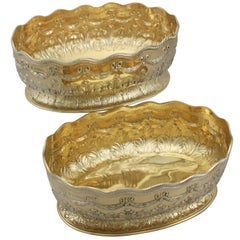 1880s Pair of Sterling Silver Gilt Presentation Dishes by Charles Stuart Harris