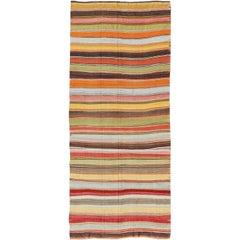 Large Gallery Runner Kilim Flat-Weave Rug with Horizontal Stripe Design