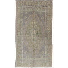 Vintage Turkish Oushak Rug with Layered Medallion in Gray, Lavender and Green