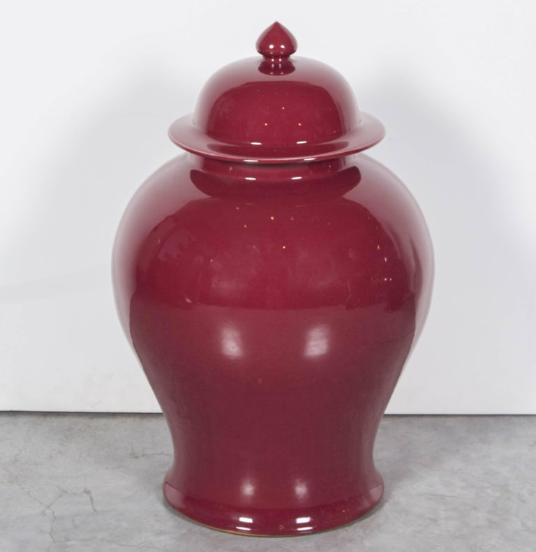 Tall Contemporary Chinese Baluster Jars In Excellent Condition For Sale In New York, NY