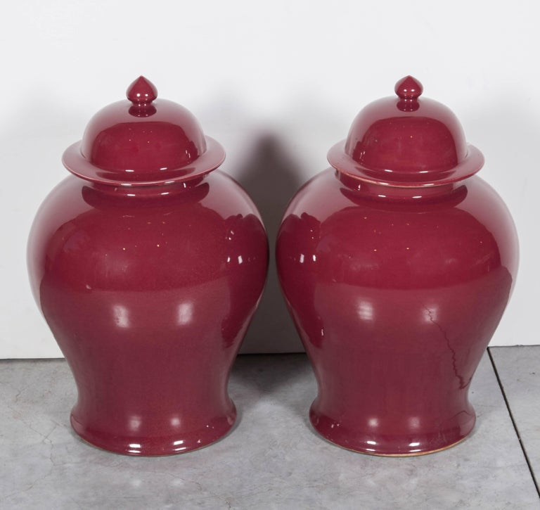 Ceramic Tall Contemporary Chinese Baluster Jars For Sale