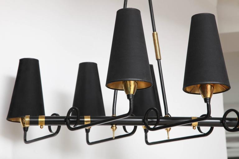 French Iron & Brass Asymmetrical Chandelier After Jean Royere For Sale 1