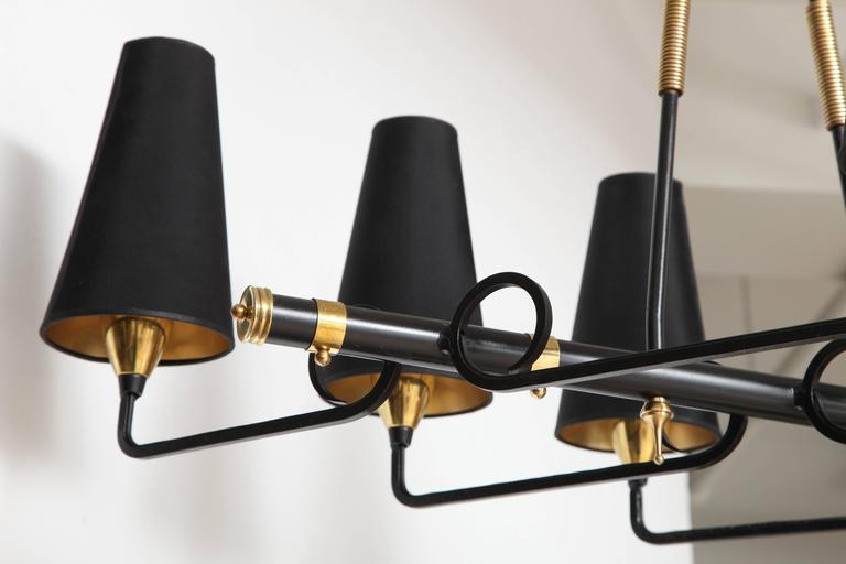 Mid-20th Century French Iron & Brass Asymmetrical Chandelier After Jean Royere For Sale