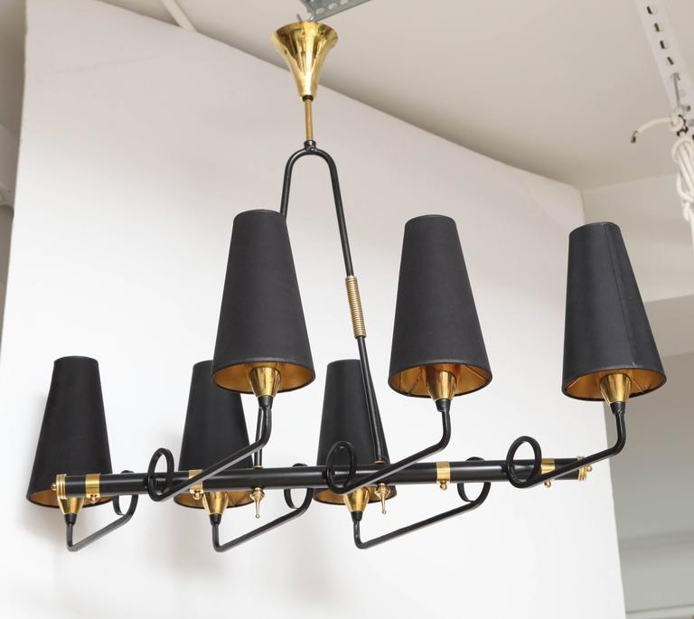 French Iron & Brass Asymmetrical Chandelier After Jean Royere For Sale 2