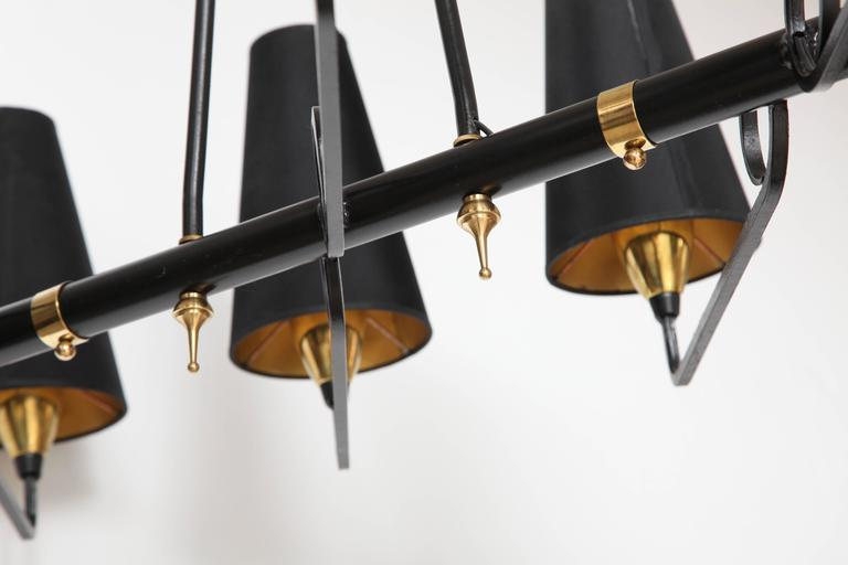 French Iron & Brass Asymmetrical Chandelier After Jean Royere For Sale 3