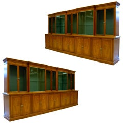 Pair of Spectacular Mid-Century Classical Romweber Walnut Bookcases Wall Units