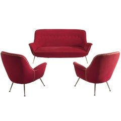 Venetian Red Fabric Italian Lounge Set, 1950s
