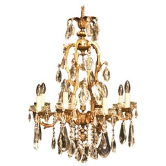 French Eight-Light Bronze Antique Cage Chandelier