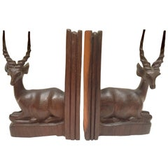 Hand-Carved Wooden Mid-Century Antelope Sculptures Bookends