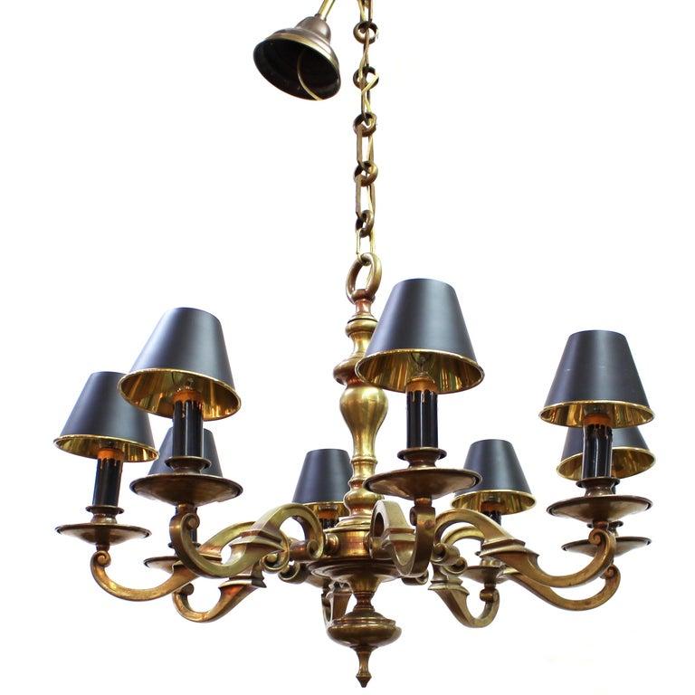 Arts & Crafts Heavy Eight-Arm Brass Chandelier