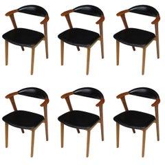 Erik Kierkegaard Danish Teak Dining Chairs in Black Leather