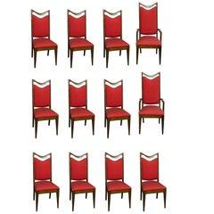 12 Custom Made Mahogany Dining Chairs