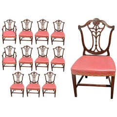 Set of 12 Georgian Neoclassical Dining Chairs in Mahogany
