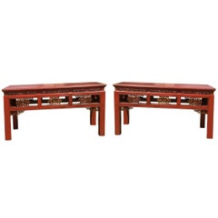 Pair Finely Carved Antique Red Benches, Chinese 19th Century, Gilded