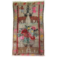 Vintage Pictorial Animal Human Turkish Rug