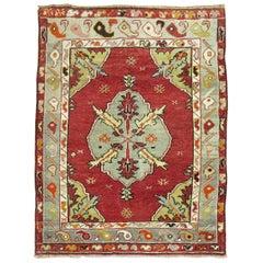 Vintage Turkish Square Oushak Rug