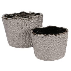 Pair of Organic Modern Handmade Ceramic Orchid Pots in White Gold