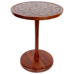 Gordon Martz Marshall Studios Dark Walnut & Dark Brown Ceramic Occasional Table