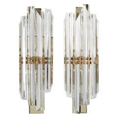 Sciolari Elegant Pair of Chrome and Glass Sconces, 1960s