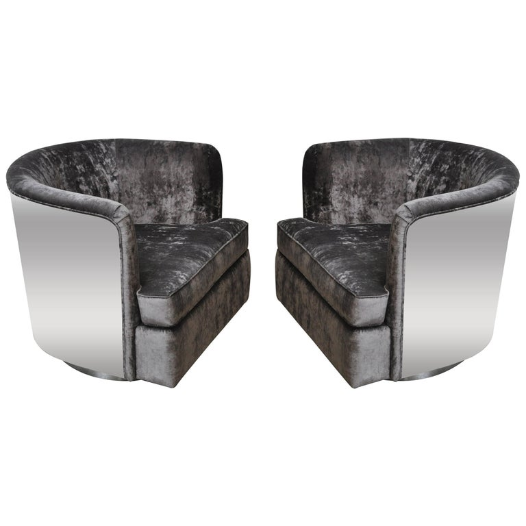Chrome Case Swivel Chairs by Milo Baughman