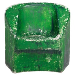 Green Painted Cement Chair, Willy Guhl