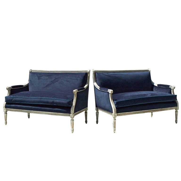 French Settees in Navy Velvet, Pair For Sale