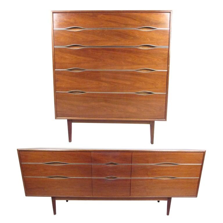 Striking vintage modern walnut bedroom dressers for sale - Contemporary bedroom sets for sale ...