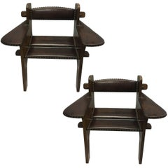 Pair of Italian Early Modern / Futurist Lounge Chairs, Giacomo Balla Attributed