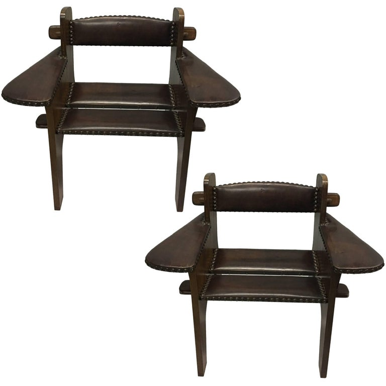Pair of Italian Early Modern / Futurist Lounge Chairs, Giacomo Balla Attributed For Sale