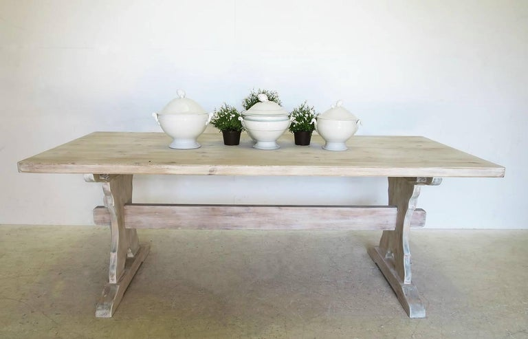 A Swedish Pine Trestle Style Dining Table With Central Stretcher And Beautifully Shaped Sides This Limed Lime Washed