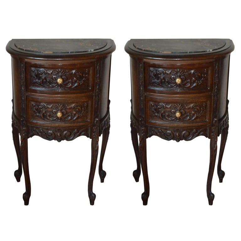 Pair of louis xv style walnut night table with two drawers - Table de chevet louis xv ...