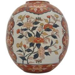 Large Japanese Hand-Painted Ovoid Imari Porcelain Vase by Master Artist